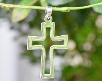 Cutout CROSS pendant, silver cross necklace, 925, religious charm, Christian gift, Baptism, Confirmation, Communion, male female, minimalist