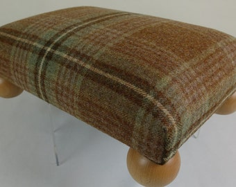 Bespoke Footstool with Beech bun feet in brown checked 100% wool fabric, Foot Stool,  low stool, Tartan Foot Stool