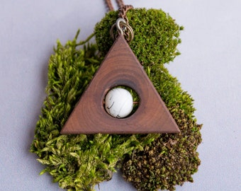 Natural Handmade Wood Necklace Geometric Porcelain Boho Necklace Minimal Tribal Necklace Boho Jewelry Girl Gift Anniversary Gift Triangle