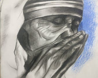 Mother Teresa, woman, peace, charcoal, drawing, sketch, black and white