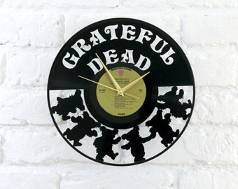 Grateful Dead vinyl record wall clock, ideal for home decor, unique gift present and hand made art, interior design for music fan, 034