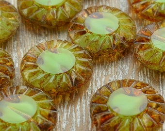 Sunflower Beads, Czech Beads, Glass Beads, Green Beads, Czech Picasso Beads, Jewellery Supplies, Czech Flower Beads, 14mm Beads, Pack of 5