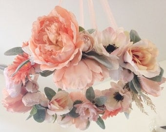 Floral Mobile - Baby Girl Mobile - Nursery Mobile - Flower Mobile - Chandelier