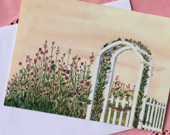 Watercolor Note Card, Arbor and Hollyhocks