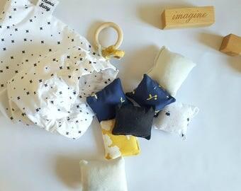 Sensory Montessori activities-Montessori learning Texture baby cotton material baby organic, oeko tex cushions