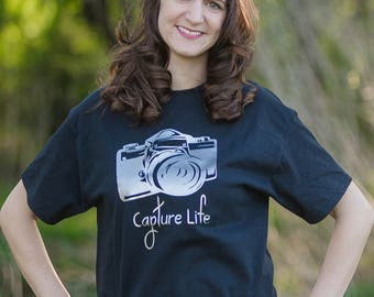 Capture Life Tshirt - Photography Shirt - Photographer Shirt - Camera Shirt - Camera Tshirt - Gift for Photographer