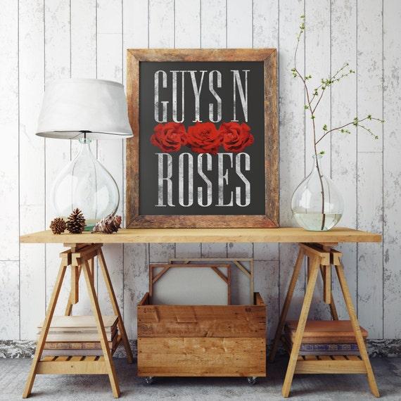 GUYS N ROSES | Wall art | Archival print| giclee prints | poster art | print wall | prints for sale | artwork | art prints | gay art
