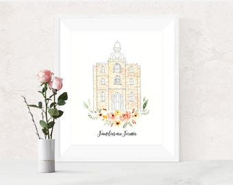 LDS Logan Utah Temple Watercolor Print Wedding Home Decor Gift Floral Painting Baptism Birthday Instant Download Printable Art