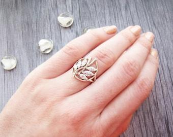 Vintage Silver ring Vintage rings Sterling Silver ring Stackable ring Dainty ring Leaf ring Tree Branch ring Vintage gift for girlfriend