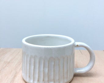 SOLD OUT Handmade white ceramic stoneware mug with carved detail