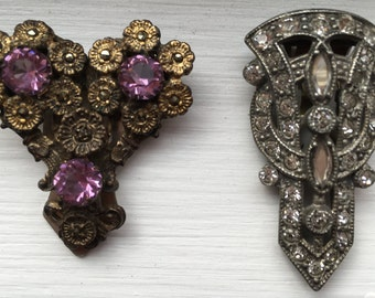 Pair Antique Vintage dress clips rhinestones