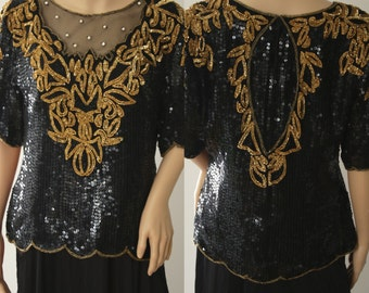 Beautiful 90's Sequins, Beads & Pearls Blouse