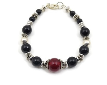 """Bracelet, Black Onyx, Red Glass Centerpiece Bead, Sterling Silver and Pewter, 8"""""""