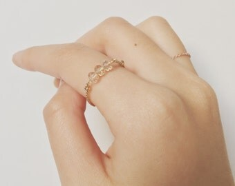 Dainty Rose Gold Chain Ring (STYLE 001)