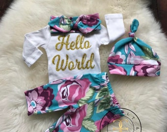 Newborn Girl coming home outfit,hello world, boho baby, baby shower gift, hospital outfit,baby clothes, baby girl, pink,baby girl clothes