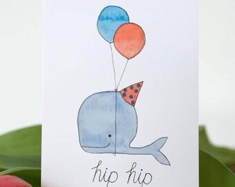 Hip hip hooray watercolor print card handmade print whale birthday party