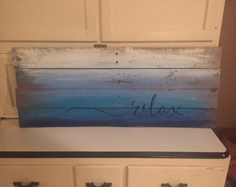 relax pallet wood sign picture in ocean blues