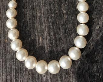 Graduated White Swarovski Pearl Necklace