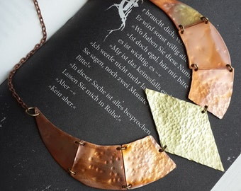 Hammered and Fire Patinated Copper and Brass Necklace