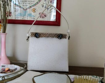Vintage Chic White Ostrich Leather Handbag with Gold Metal Clasp and Cameos from Juliart La France - Noir Retro Classic 1960s Mod