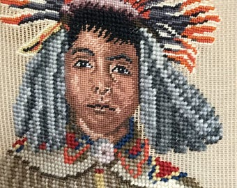 Vintage Limited Edition Needlepoint Canvas of Young American Indian.