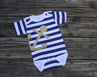 Nautical Infant Bodysuit// Striped Glitter Anchor Infant Bodysuit// Sailor baby// Anchors away