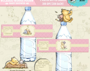INSTANT DOWNLOAD|| Classic Winnie Pooh||Baby shower Water bottle labels||Baby girl||Printable||