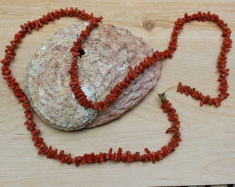 Vintage Natural Undyed Dark Orange Red Coral Branch Necklace 79cm Long
