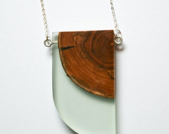 Wood and resin pendant necklace