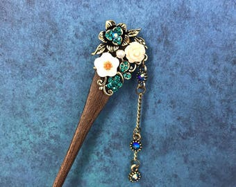 Hair Stick, Wooden, Green-Blue, Chopstick, Hair Jewelry, Oriental, Asian, Floral, Rhinestone, Bronze, Updo
