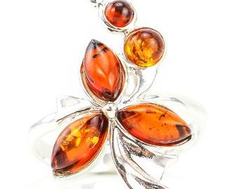 Baltic Amber Ring, flower amber, honey amber ring, honey amber bead, adjustable ring, flower ring, amber jewelry, shaped Amber Gemstone
