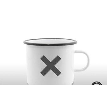 X symbol XX enamel mug / Cup gift girl friend outdoor design, music, minimalist, cool, boho, vintage, retro, hipster, new