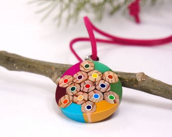 Pendants from colored pencils, Necklace from colored pencils, Pencil jewelry, Handmade jewelry, Charm Necklaces, Pendants