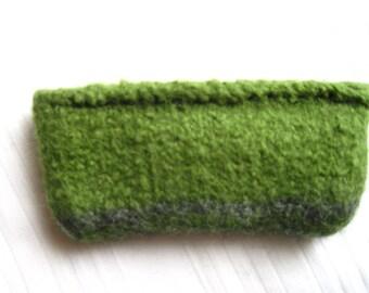 Felt bag Green grey mini bag purse wallet knit + felting wool metal zipped woolen bag