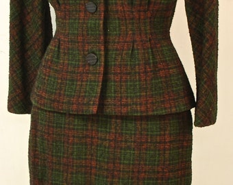 1940's/50's Brown & Rust Wool Tweed Jacket and Skirt Suit Set / Peplum / Hourglass Suit / Mad Men / Rare Collectable Retro