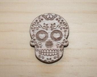 suagr skull handmade wooden brooch