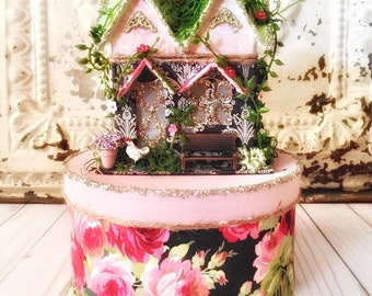 Putz Style House with Decorative Box, Glitter House, Spring Putz House, Spring Decor, Vintage Decor, French Country Decor, Easter Decor