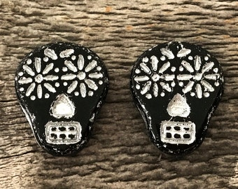 Czech Glass Sugar Skull Beads, Opaque Black with Silver Wash, 20X17mm, 2 Qty.