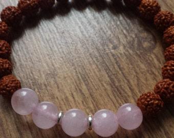 Rudraksha Ladies Wrist Mala beads/bracelet with Rose Quartz chakra gemstone