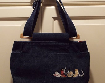 New Denim Handmade Handbag Western motif embrodery