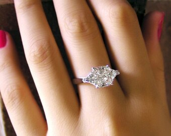 Princess Cut 3 Stone Ring Diamond Engagement Ring 14k White Gold or Yellow Gold or Rose Gold Art Deco Diamond Ring Proposal Ring