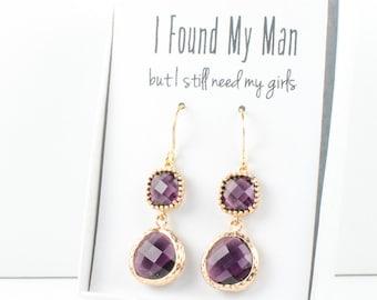 Long Amethyst Gold Earrings, Gold Amethyst Earrings, February Birthstone Gold Earrings, Bridesmaid Jewelry, Purple Wedding Jewelry