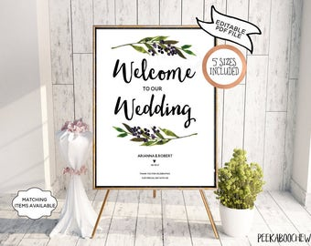 Wedding Welcome Sign Wedding Reception Greet Guests Personalized Editable Printable Welcome to Our Wedding Poster Board DIY Template PCGLWS