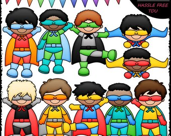 Superhero Boys Clip Art and B&W Set