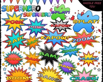 Superhero Word Art Clip Art and B&W Set