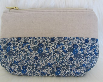 Liberty Print + Linen pouch | Liberty London Emma and Georgina | makeup pouch | sewing kit pouch | pencil case | utility pouch