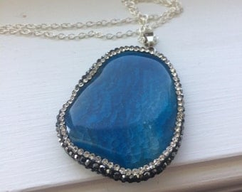 "Trendy Pave Blue Agate Pendent with Blue Stone,Stylish pendent 30""inch silver chain"