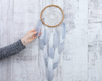 Long Gray Feather Dreamcatcher - Color Choice - Boho Girls Boys DreamCatcher Wall Hanging Baby Tribal Crib Baby Feathers New Baby nursery