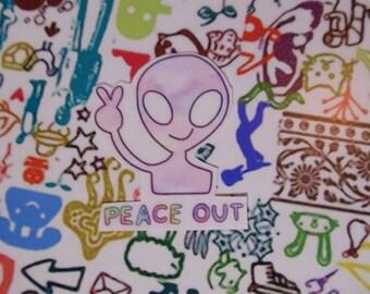 Alien Peace Out Sticker