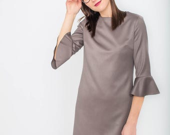 Classic fitted dress with statement bell sleeves VICTORIA. Cocktail party dress/ Ruffle flared sleeves/ Festive season/ New Year Eve